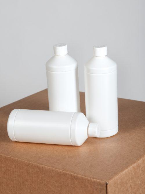 Flessen 1 liter wit met schroefdop - 90 stuks - Verpakkingswebwinkel.nl